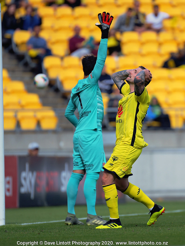 Phoenix's Gary Hooper reacts to a missed chance during the ISPS Handa Premiership football match between Wellington Phoenix Reserves and Southern United at Sky Stadium in Wellington, New Zealand on Saturday, 11 January 2020. Photo: Dave Lintott / lintottphoto.co.nz