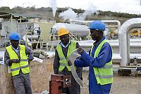 "KENYA Naivasha, Olkaria, construction site of well head geothermal power plant of KenGen the kenyan power company/ KENIA Naivasha, Olkaria, Baustelle eines ""well head"" geothermischen Kraftwerk des kenianischen Energieversorger KenGen"