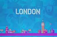 EM Spielort London auf der Videowand - 30.11.2019: UEFA EURO2020 Auslosung, Romexpo Bukarest, DISCLAIMER: UEFA regulations prohibit any use of photographs as image sequences and/or quasi-video.