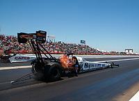 Apr 14, 2019; Baytown, TX, USA; NHRA top fuel driver Austin Prock during the Springnationals at Houston Raceway Park. Mandatory Credit: Mark J. Rebilas-USA TODAY Sports
