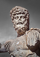 Roman statue of Emperor Septimus Severus. Marble. Perge. 2nd century AD. Inv no 3266 . Antalya Archaeology Museum; Turkey. Against a grey background