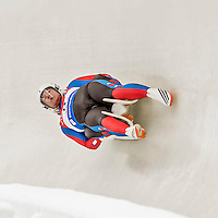 4 December 2015: Matej Kvicala and Jaromir Kudera, sliding for the Czech Republic, bank into a turn on their first run of the Doubles Competition during the Viessmann Luge World Cup Series at the Olympic Sports Track in Lake Placid, New York, USA. Mandatory Credit: Ed Wolfstein Photo *** RAW (NEF) Image File Available ***