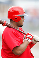 June 21, 2009:  Jairo Martinez of the Batavia Muckdogs on deck during a game at Dwyer Stadium in Batavia, NY.  The Muckdogs are the NY-Penn League Short-Season Class-A affiliate of the St. Louis Cardinals.  Photo by:  Mike Janes/Four Seam Images