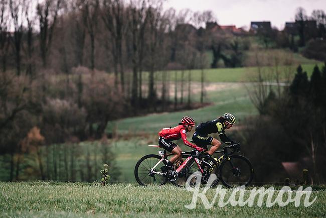 Haaghoek cobbles with Coryn Rivera (USA/Sunweb)<br /> <br /> 12th Women's Omloop Het Nieuwsblad 2020 (BEL)<br /> Women's Elite Race <br /> Gent – Ninove: 123km<br /> <br /> ©kramon