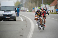 hard man Stijn Devolder (BEL/Trek Factory Racing) forcing a late breakaway that lasted with the 2km sign in sight<br /> <br /> Gent-Wevelgem 2014