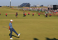 18th July 2021; Royal St Georges Golf Club, Sandwich, Kent, England; The Open Championship Golf, Day Four; Collin Morikawa (USA) reacts as his putt for birdie on the final hole narrowly misses