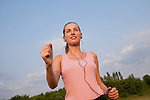 Russia, Voronezh, young woman jogging