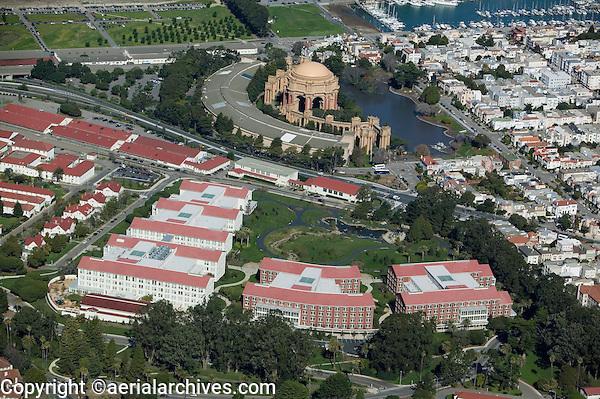 aerial photograph Lucasfilm Letterman Digital Arts Center Presidio San Francisco Palace of Fine Arts Marina district in background