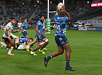 3rd April 2021; Eden Park, Auckland, New Zealand;  Mark Telea heads for the try line.<br /> Blues v Hurricanes Super Rugby Aotearoa. Eden Park, Auckland. New Zealand.