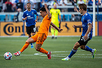 SAN JOSE, CA - JULY 24: Memo Rodriguez #8 of the Houston Dynamo passes the ball during a game between San Jose Earthquakes and Houston Dynamo at PayPal Park on July 24, 2021 in San Jose, California.