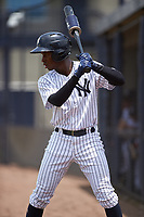 GCL Yankees West left fielder Terrance Robertson (11) on deck during the second game of a doubleheader against the GCL Yankees East on July 19, 2017 at the Yankees Minor League Complex in Tampa, Florida.  GCL Yankees West defeated the GCL Yankees East 3-1.  (Mike Janes/Four Seam Images)