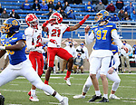 BROOKINGS, SD - MARCH 13: Cole Frahm #97 of the South Dakota State Jackrabbits knocks through the game winning 29 year field goal with 31 seconds left against the Youngstown State Penguins at Dana J. Dykhouse Stadium on March 13, 2021 in Brookings, South Dakota. (Photo by Dave Eggen/Inertia)