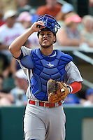 Buffalo Bisons catcher A.J. Jimenez (41) during the first game of a doubleheader against the Rochester Red Wings on July 6, 2014 at Frontier Field in Rochester, New  York.  Rochester defeated Buffalo 6-1.  (Mike Janes/Four Seam Images)