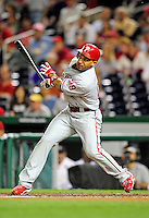 27 September 2010: Philadelphia Phillies' outfielder Raul Ibanez in action against the Washington Nationals at Nationals Park in Washington, DC. Mandatory Credit: Ed Wolfstein Photo