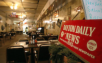 """A Dayton Daily News sign sits at the entrance of """"The Varsity Club"""" restaurant Thursday June 5, 2003 in Kenton, Ohio.<br />"""
