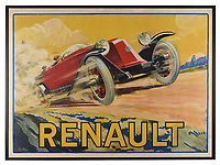 BNPS.co.uk (01202 558833)<br /> Pic: Dreweatts/BNPS<br /> <br /> Pictured: An advertising poster depicting a Renault Type 45 Cabriolet Tourer at speed and capturing the thrill of racing is on sale for £700<br /> <br /> A glamorous collection of early French motorsport posters has emerged for sale with a British auction house for £25,000.<br /> <br /> The earliest examples date from 1900 showing well-heeled Parisians chauffeured in vintage cars on the capital's streets.<br /> <br /> The vehicles are flanked by marching bands with passengers in their finest clothes to reinforce the element of prestige.<br /> <br /> There is a striking 1902 French poster of a British Mulberry car in the Scottish Highlands, while another celebrates the 1934 Grand Parade Vichy.