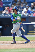 Lexington Legends designated hitter Wander Franco (8) swings at a pitch during a game against the Asheville Tourists on May 3, 2015 in Asheville, North Carolina. The Legends defeated the Tourists 6-3. (Tony Farlow/Four Seam Images)