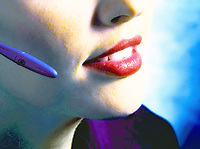 Photo of a woman talking on the phone, phone, woman lips.
