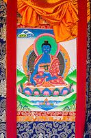 Nepal, Changu Narayan.  Blue Buddha in a Thangka, a Tibetan Buddhist Religious Painting.