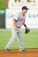 Hagerstown Suns shortstop Stephen Perez (10) on defense against the Kannapolis Intimidators at CMC-Northeast Stadium on May 17, 2013 in Kannapolis, North Carolina.  The Suns defeated the Intimidators 9-7.   (Brian Westerholt/Four Seam Images)