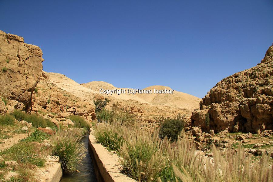 Judean desert, aqueduct in Ein Qelt