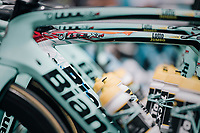 the Team LottoNL-Jumbo race machines lined up for battle before the start<br /> <br /> 104th Tour de France 2017<br /> Stage 11 - Eymet › Pau (202km)