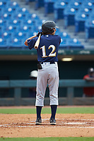 Jett Lovett (12) of Newnan HS in Newnan, GA playing for the Milwaukee Brewers scout team during the East Coast Pro Showcase at the Hoover Met Complex on August 2, 2020 in Hoover, AL. (Brian Westerholt/Four Seam Images)