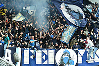 Napoli fans cheer on during the Serie A 2018/2019 football match between Frosinone and SSC Napoli at stadio Benito Stirpe, Frosinone, April 28, 2019 <br /> Photo Andrea Staccioli / Insidefoto during the Serie A 2018/2019 football match between Frosinone and SSC Napoli at stadio Benito Stirpe, Frosinone, April 28, 2019 <br /> Photo Andrea Staccioli / Insidefoto