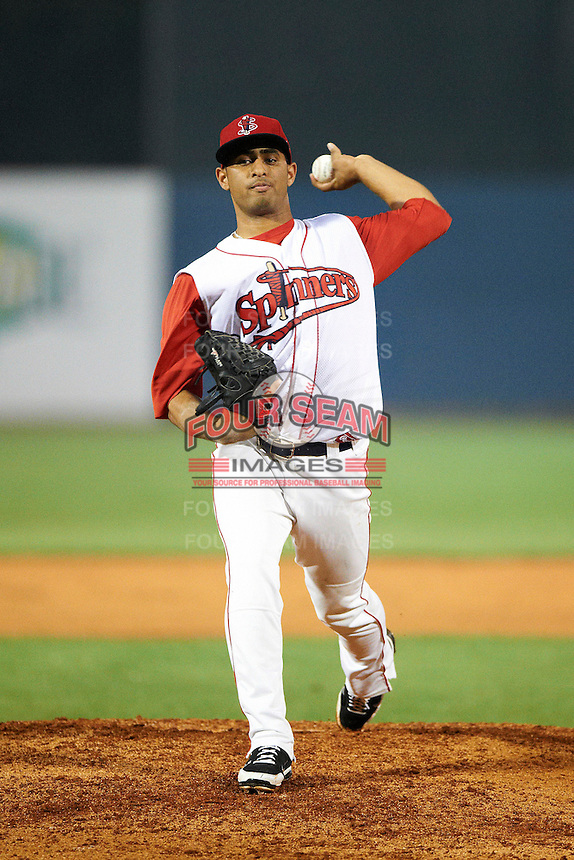 Lowell Spinners pitcher Francisco Taveras #40 during the NY-Penn League All-Star Game at Eastwood Field on August 14, 2012 in Niles, Ohio.  National League defeated the American League 8-1.  (Mike Janes/Four Seam Images)