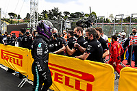 17th April 2021; Autodromo Enzo and Dino Ferrari, Imola, Italy; F1 Grand Prix of Emilia Romagna, Qualifying sessions; Lewis Hamilton GBR, Mercedes-AMG Petronas F1 Team celebrates pole with his team