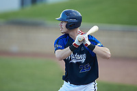 Matt Goodheart (25) (Arkansas) of the Martinsville Mustangs at bat against the High Point-Thomasville HiToms at Finch Field on July 26, 2020 in Thomasville, NC.  The HiToms defeated the Mustangs 8-5. (Brian Westerholt/Four Seam Images)