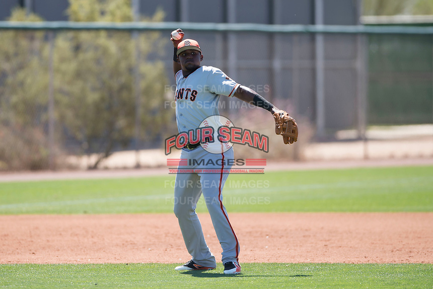 San Francisco Giants third baseman Frandy De La Rosa (15) during a Minor League Spring Training game against the Arizona Diamondbacks at Salt River Fields at Talking Stick on March 28, 2018 in Scottsdale, Arizona. (Zachary Lucy/Four Seam Images)