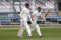 Sir Alastair Cook (L) and Nick Browne walk out to open the Essex 1st innings during Essex CCC vs Worcestershire CCC, LV Insurance County Championship Group 1 Cricket at The Cloudfm County Ground on 8th April 2021