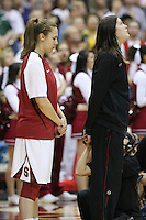 SAN ANTONIO, TX - APRIL 4:  Kayla Pedersen and Sarah Boothe of the Stanford Cardinal during Stanford's 73-66 win over Oklahoma in the Final Four semi-finals at the Alamo Dome on April 4, 2010 in San Antonio, Texas.
