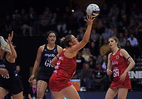 England's Eleanor Gardwell in action during the Cadbury Netball Series Taini Jamison Trophy match between New Zealand Silver Ferns and England Roses at Claudelands Arena in Hamilton, New Zealand on Wednesday, 28 October 2020. Photo: Dave Lintott / lintottphoto.co.nz