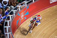 06 AUG 2012 - LONDON, GBR - Angie Gonzalez (VEN) of Venezuela  warms up for her Flying Lap during the first day of the Women's Omnium in the London 2012 Olympic Games track cycling at the Olympic Park Velodrome in Stratford, London, Great Britain.(PHOTO (C) 2012 NIGEL FARROW)