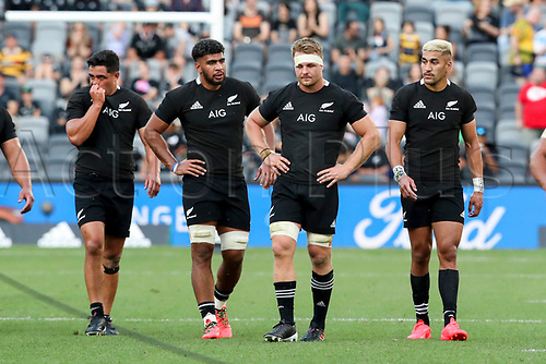 14th November 2020, Sydney, Australia;  The All Blacks react after being beaten by the Pumas. Tri Nations rugby union test match,  New Zealand All Blacks versus Argentina Pumas. Bankwest Stadium, Sydney, Australia.