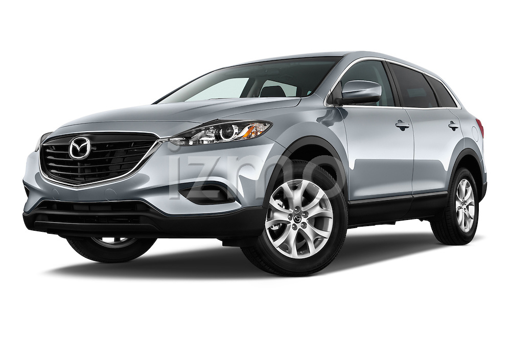 Low aggressive front three quarter view of a .2013 Mazda CX9
