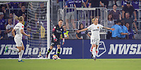 Orlando, FL - Saturday March 24, 2018: Utah Royals Gunnhildur Jonsdottir (23) celebrates her goal during a regular season National Women's Soccer League (NWSL) match between the Orlando Pride and the Utah Royals FC at Orlando City Stadium. The game ended in a 1-1 draw.