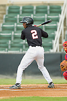 Tim Anderson (2) of the Kannapolis Intimidators at bat against the Lakewood BlueClaws at CMC-Northeast Stadium on August 13, 2013 in Kannapolis, North Carolina.  The Intimidators defeated the BlueClaws 12-8.  (Brian Westerholt/Four Seam Images)