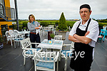 Asya O'Callaghan and Johnathan Sadlier (Chef) getting ready for the reopening of outdoor dining in the Listowel Arms Hotel.