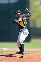 Pittsburgh Pirates pitcher Miguel Rosario (50) during a minor league spring training game against the Philadelphia Phillies on March 18, 2014 at the Carpenter Complex in Clearwater, Florida.  (Mike Janes/Four Seam Images)