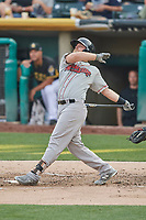 Sheldon Neuse (26) of the Nashville Sounds bats against the Salt Lake Bees at Smith's Ballpark on July 28, 2018 in Salt Lake City, Utah. The Bees defeated the Sounds 11-6. (Stephen Smith/Four Seam Images)