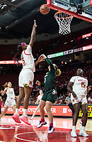 COLLEGE PARK, MD - FEBRUARY 03: Kaila Charles #5 of Maryland shoots over Alyza Winston #3 of Michigan State during a game between Michigan State and Maryland at Xfinity Center on February 03, 2020 in College Park, Maryland.
