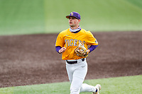 LSU Tigers second baseman Collier Cranford (16) jogs off the field between innings of the game against the Tennessee Volunteers on Robert M. Lindsay Field at Lindsey Nelson Stadium on March 28, 2021, in Knoxville, Tennessee. (Danny Parker/Four Seam Images)
