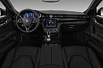 Stock photo of straight dashboard view of a 2018 Maserati Quattroporte S 4 Door Sedan