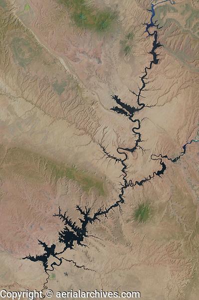 satellite image of Lake Powell, Glen Canyon National Recreation Area, Utah
