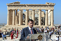 Pictured: Mayor of Athens Giorgos Kaminis with the Parthenon in the background STOCK PICTURE<br /> Re: Diesel cars and trucks will be banned in Paris, Madrid, Athens and Mexico City by 2025 as part of a groundbreaking initiative to curb pollution.<br /> At a climate meeting in Mexico, the cities' mayors also pledged to incentivise electric, hybrid and hydrogen vehicles, and walking and cycling.<br /> The move comes amid increasing concerns about the impact of diesel engines on the health of people living in cities. <br /> Last week a report found that air pollution causes nearly half a million premature deaths each year in Europe alone.
