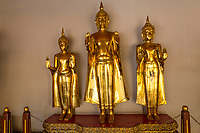 """Bangkok, Thailand.  Buddhas in the Cloister (Phra Rabiang) Surrounding the Chedis of the first Four Rama Kings, Wat Pho Temple Compound.  The Buddhas are displaying the """"calming the ocean"""" mudra, simultaneously offering both hands in the abhaya gesture."""