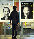 October 25, 2011, Tokyo, Japan - The portraits of late Steve Jobs adorn the windows of a Tokyo bookstore on Tuesday, October 25, 2011. Soon after the first official biography of the Apple founder by Walter Isaacson hit bookstores on Monday, copies started flying off the bookshelves across Japan. (Photo by Natsuki Sakai/AFLO) [3615] -mis-